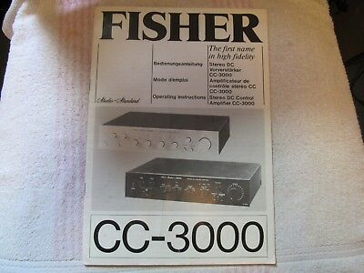 The Fisher Brand. Model Cc-3000. Stereo Integrated Amplifier. Owner's Manual