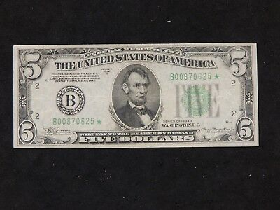 1934-A Extra Fine $5 Federal Reserve Note - 1934-A $5 STAR NOTE - XF