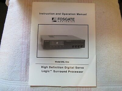 Fosgate Audionics Brand. Model Dsl One. Hd Surround Processor. Owner's Manual