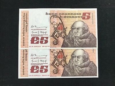 Irish five pounds Scotus Central Bank of Ireland 1979 UNC 2 consecutive numbers