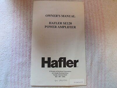 Hafler Brand. Model Se-120. Stereo Power Amplifier. Owner's Manual