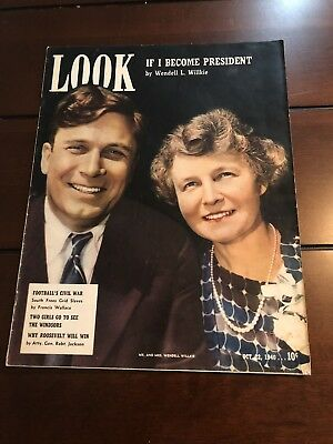 Vintage Look Magazine October 22,1940 If I Become President By Wendell Willkie