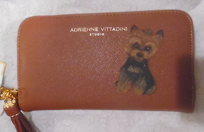 Yorkie Yorkshire Terrier Hand Painted Wallet & Tassel with Charging unit in one