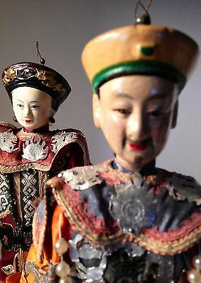 Antique Vintage Chinese Mandarin Emperor & Empress Opera Dolls