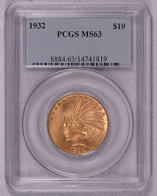 PCGS graded 1932 GOLD Indian Head Eagle $10 Coin CERTIFIED MS 63