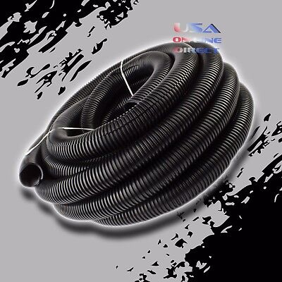 "1"" Conduit Car Home Boat 40 Foot Tubing Split Wire Loom Black Color Sleeve Tube"