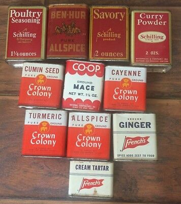 Vintage Collectible Estate Lot of 11 Metal Adervtising Spice Tins Containers