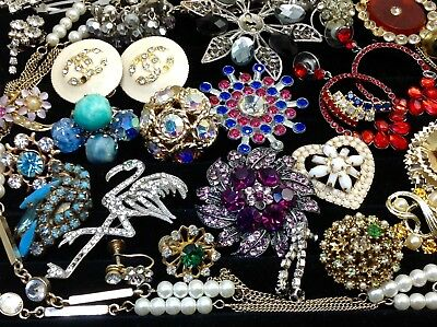 Large Lot Of Vintage~Retro Rhinestone, Crystal.. Jewelry For Repair, Parts (E40)