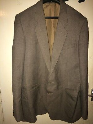 """Vintage Mens 42"""" Chest Brown Pure New Wool Suit Jacket By Burton"""