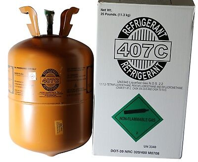 R-407C with Oil for easy install of R22 Refrigerant 25 Lb Cylinder - New! #9980