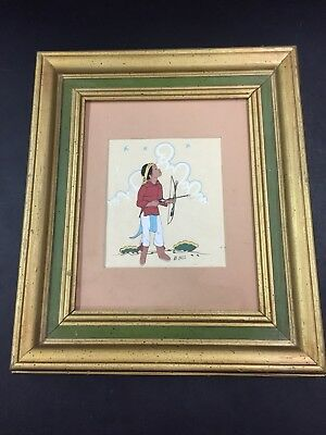 Vintage Beatien Yazz Native American Boy Silk Screen Print Tewa Enterprises