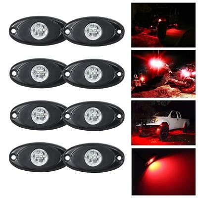 8PCS RED CREE LED Rock Light Off-Road Underglow Foot Wheel Well Lamp Truck Trail