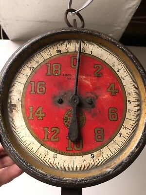VINTAGE ANTIQUE RED CHATILLON HANGING STORE SCALE Mom & Pop 1900-1920s