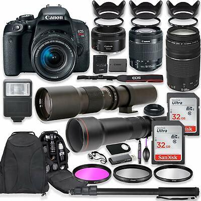 Canon EOS Rebel T7i DSLR Camera with (4) Lenses + Professional Bundle