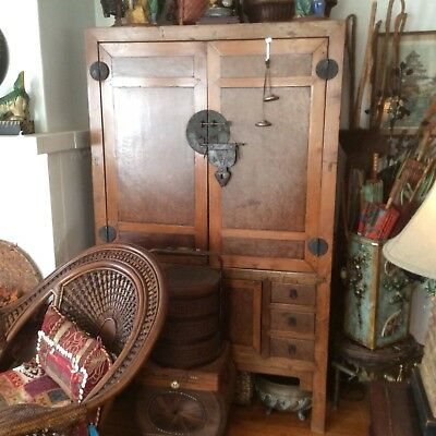 Antique Wood Chinese Tibetan Storage Cabinet / 75 Years Old / Great Condition