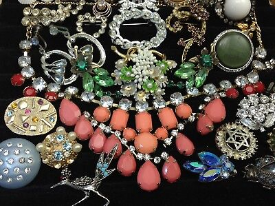Large Lot Of Vintage~Retro Rhinestone, Crystal.. Jewelry For Repair, Parts (E1)
