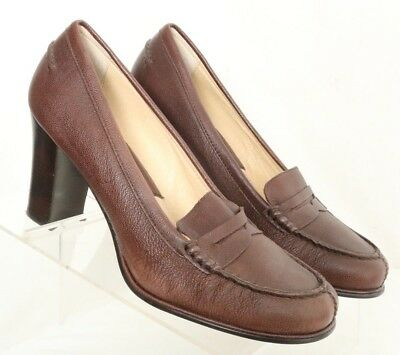 7346a8e68077 Michael Kors Bayville Brown Leather Moc Penny Loafer Pumps Heels Women s US  9M