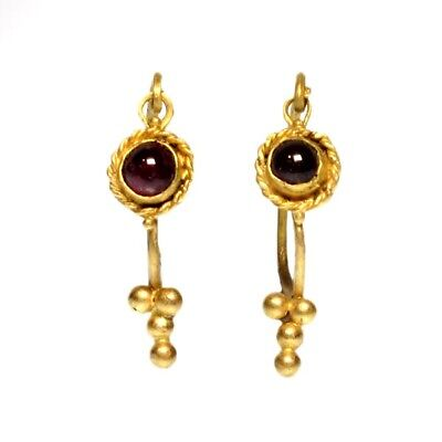 Pair Greek Gold and Garnets Earrings 200 BC-100 AD