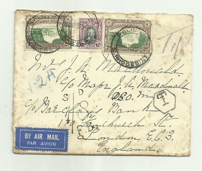 Rhodesia 1933 cover to England with postage dues