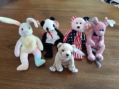 5 beanie babies all mint condition all from 1993-1999