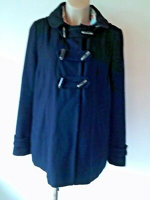 353ab1f07d66c TOPSHOP MATERNITY NAVY Blue Buckle Hooded Jacket Coat Size 12 ...
