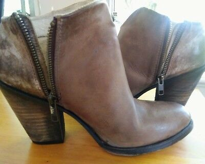 """Freebird by Steven """"Detroit"""" Distressed Ankle Boots Booties Taupe Size 8"""