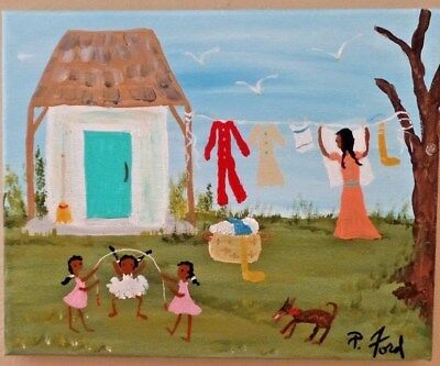 PRIMITIVE SOUTHERN  BLACK FOLK ART ORIG. PAINTING  by P.Ford 8X10