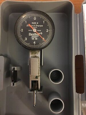 "Brown & Sharpe Best Test 7032-5 0.0001"" Dial Test Indicator With Case"