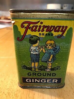 Fairway Brand Ground Ginger in Spice Tin : Old Logo with Boy & Girl : Full