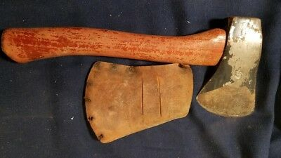 Vintage Plumb Boy Scout Hatchet With Original Leather Sheath