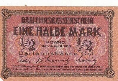 1918 Germany 1/2 Mark Lithuania Occupation Note, Pick R127
