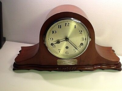 Stunning Edwardian Napolean Hat Shaped Oak Cased Westminster Chime Mantel Clock,