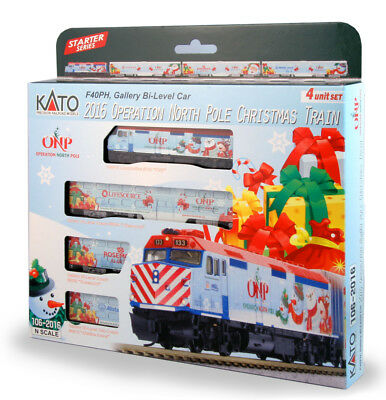 KATO 1062016 N 2016 Operation North Pole Christmas Train LOCO & 3 CARS 106-2016