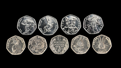 2016 & 2017 Brand New Uncirculated Beatrix Potter Full Set 50p Fifty Pence Coins