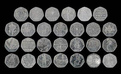 Full Set of UK Commemorative Great British Coin Hunt 50p Fifty Pence Coins