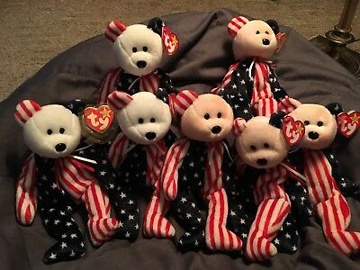 Ty Beanie Baby Spangle in Red White & Blue  born June 14, 1999  Lot Of 6