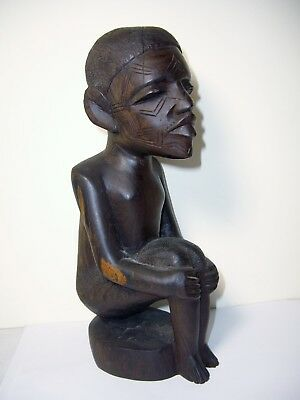 African Carved Seated Wood Figure Statue Vintage