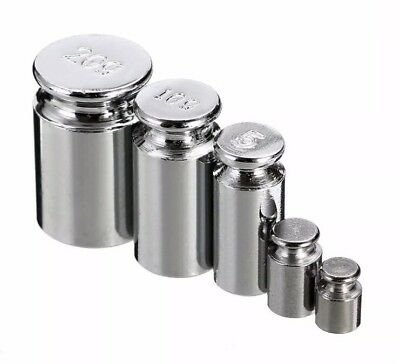 5pcs Chrome Plating Metal Calibration Gram (G) Scale Weight Set 1g 2g 5g 10g 20g