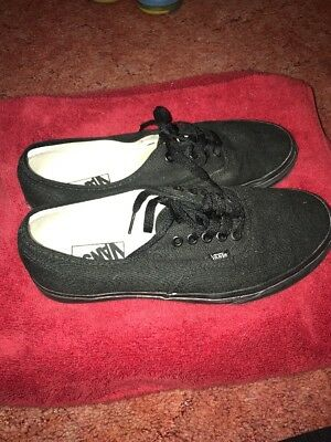 low all black vans, size 9 men's