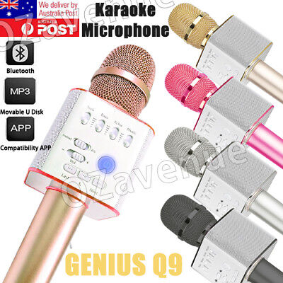 Q9 Wireless Bluetooth Karaoke Microphone Speaker With USB iPhone Samsung Android