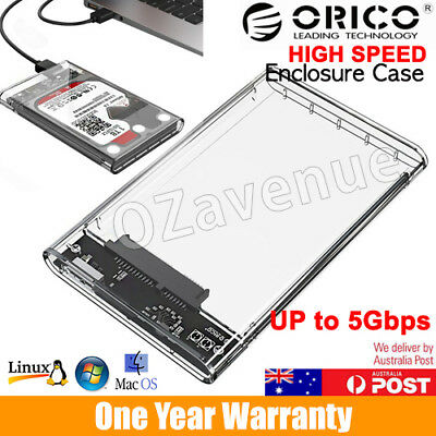 "ORICO Clear USB 3.0 External 2.5"" SATA SSD HDD Tool-free Enclosure Case"