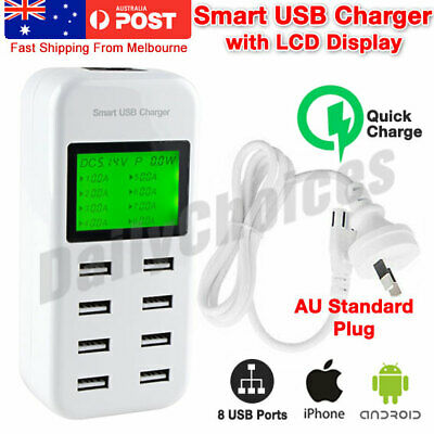 8 Port 5V/8A USB Charging Power Strip Adapter Wall Travel Desktop Charger Hub AU