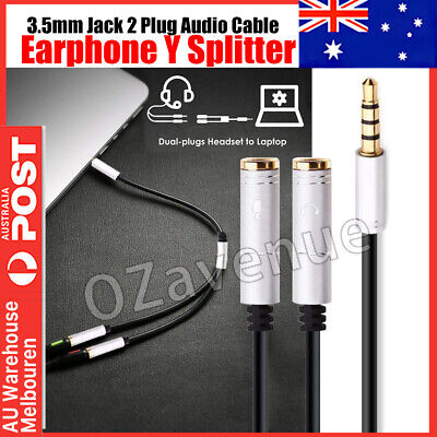 Premium 3.5mm Y Splitter 1 Male Jack to 2 Female Headphone Mic Audio Cable