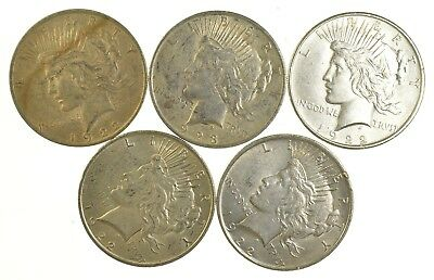 Lot of 5 1922 or 1923 Peace Silver Dollars - 90% Silver - Coin Collection *803