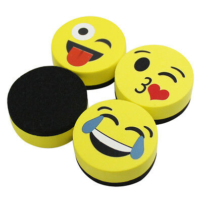 Magnetic Whiteboard Eraser Smiley marker Erase Dry Erase Erasers 4 Pack of 2""