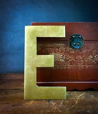 """Vintage """"E"""" Architectural Salvage 10"""" Solid Brass Sign Letter - Large & Heavy!"""