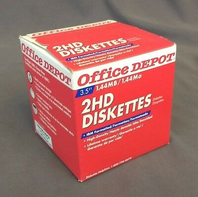 "Office Depot 2HD Floppy Diskettes 3.5"" 1.44MB High Density 25 Count - New in Box"