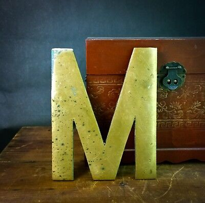 """Vintage """"M"""" Architectural Salvage 10"""" Solid Brass Sign Letter - Large & Heavy!"""