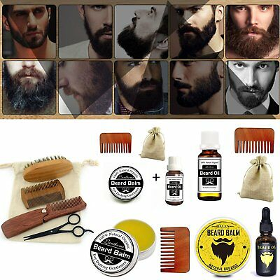 Premium Beard Comb Brush Set Natural Beard Balm Moustache Wax Grooming Kit