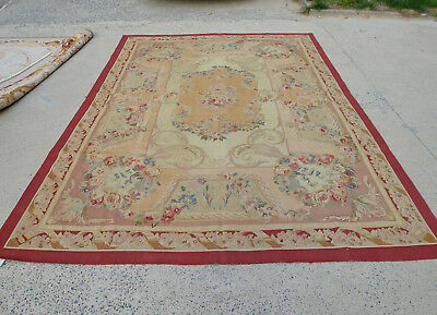 7'X10' Antique Hand-woven Aubusson French Chic Shabby Floral Rug Burgandy Oliver